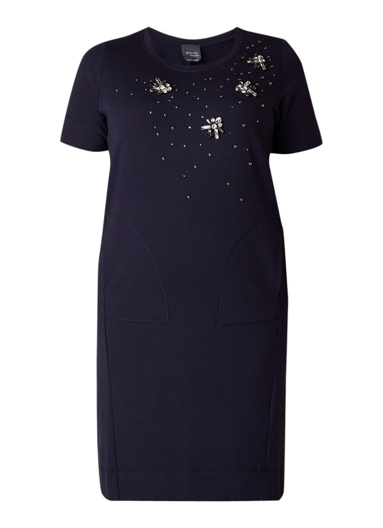 Marina Rinaldi Ottone jurk met strass-applicaties donkerblauw