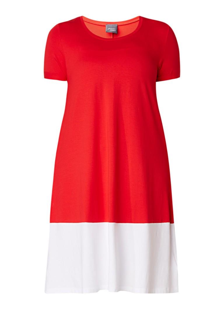Marina Rinaldi T-shirtjurk met contrasterende zoom blauw