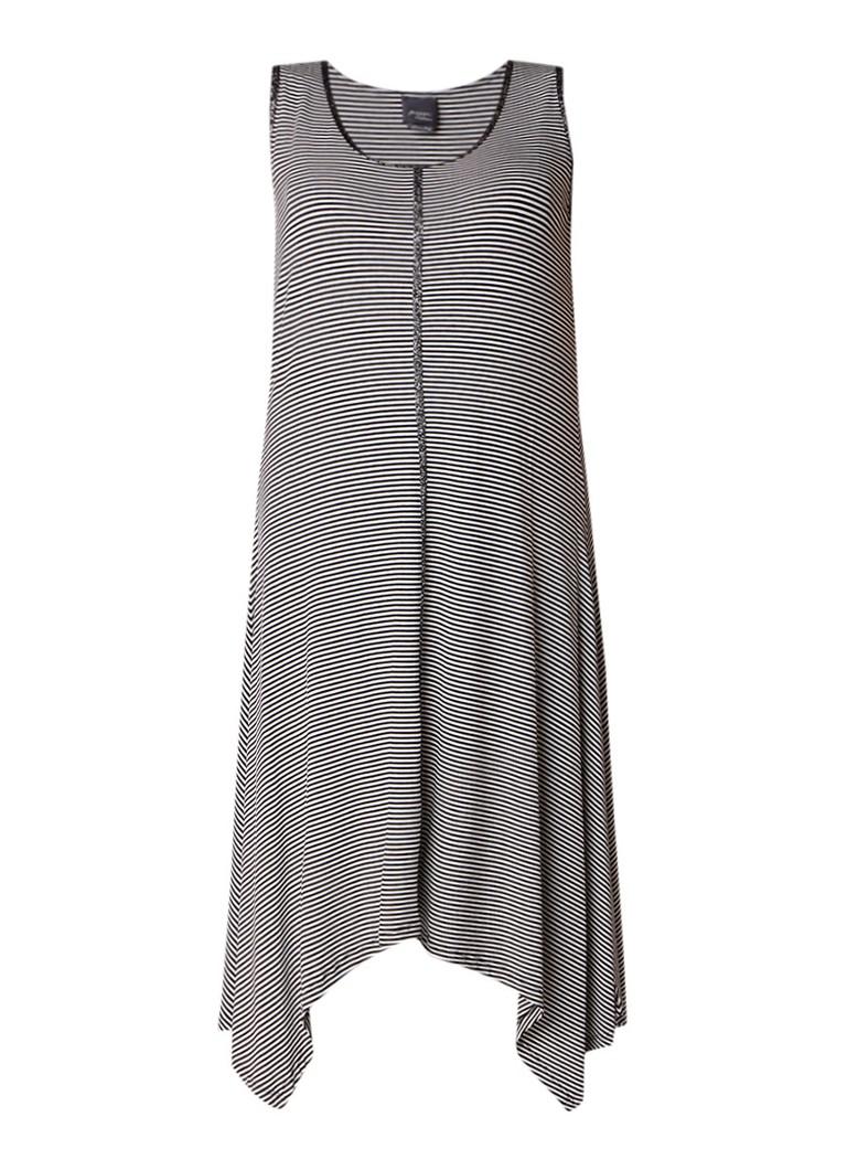 Marina Rinaldi Olimpico midi-jurk met streepdessin en lurex detail zwart