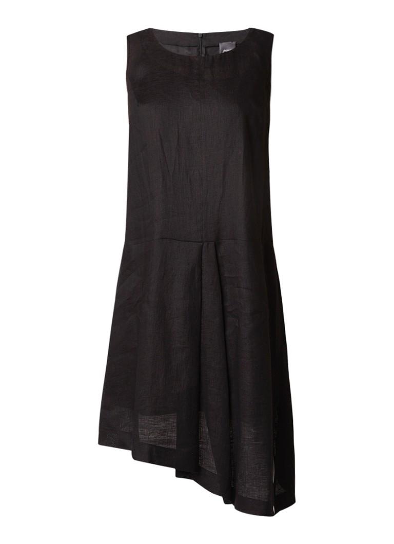 Marina Rinaldi Asymmetrische midi-jurk van linnen zwart