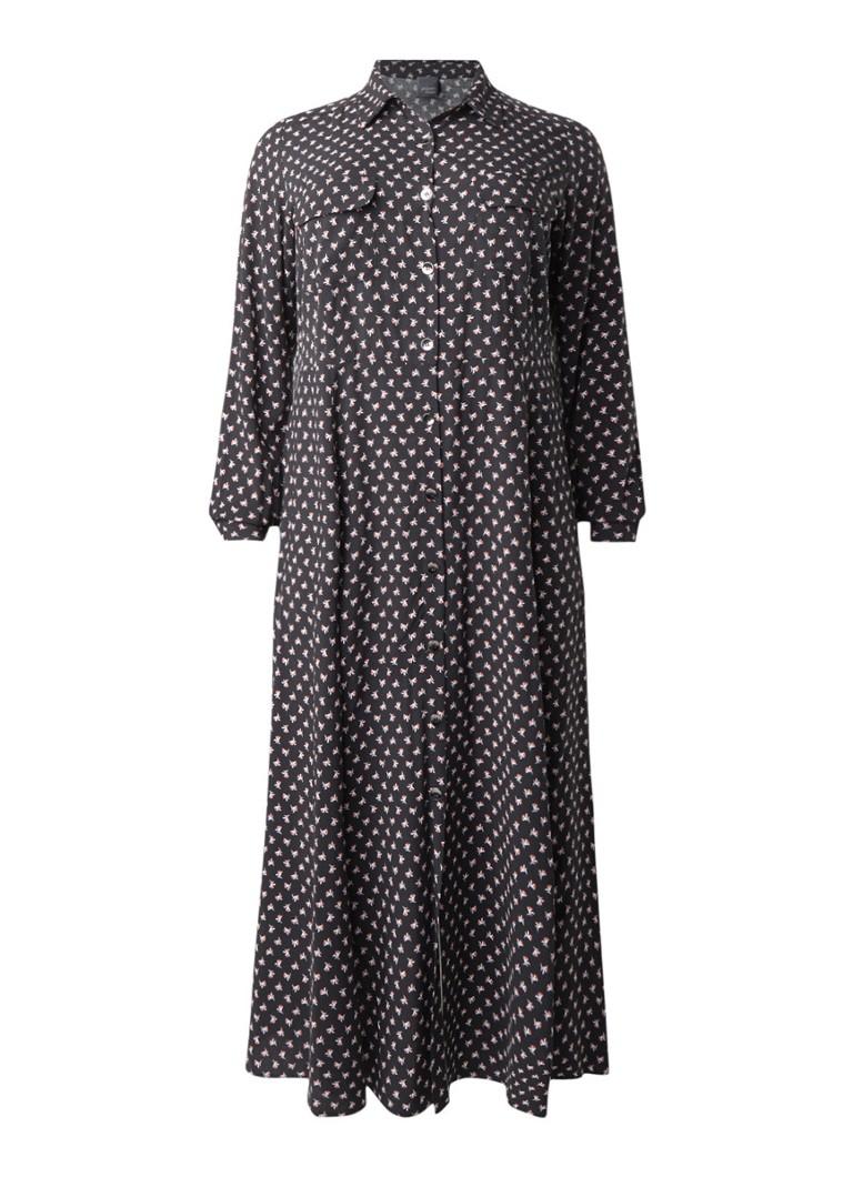 Marina Rinaldi Dieci maxi-blousejurk met bloemendessin zwart