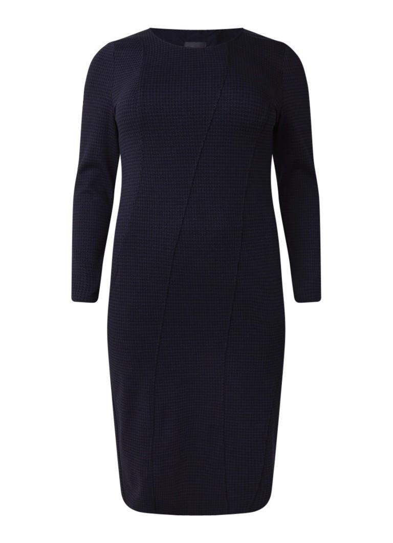 Marina Rinaldi Midi-jurk van jersey met pied-de-poule dessin donkerblauw