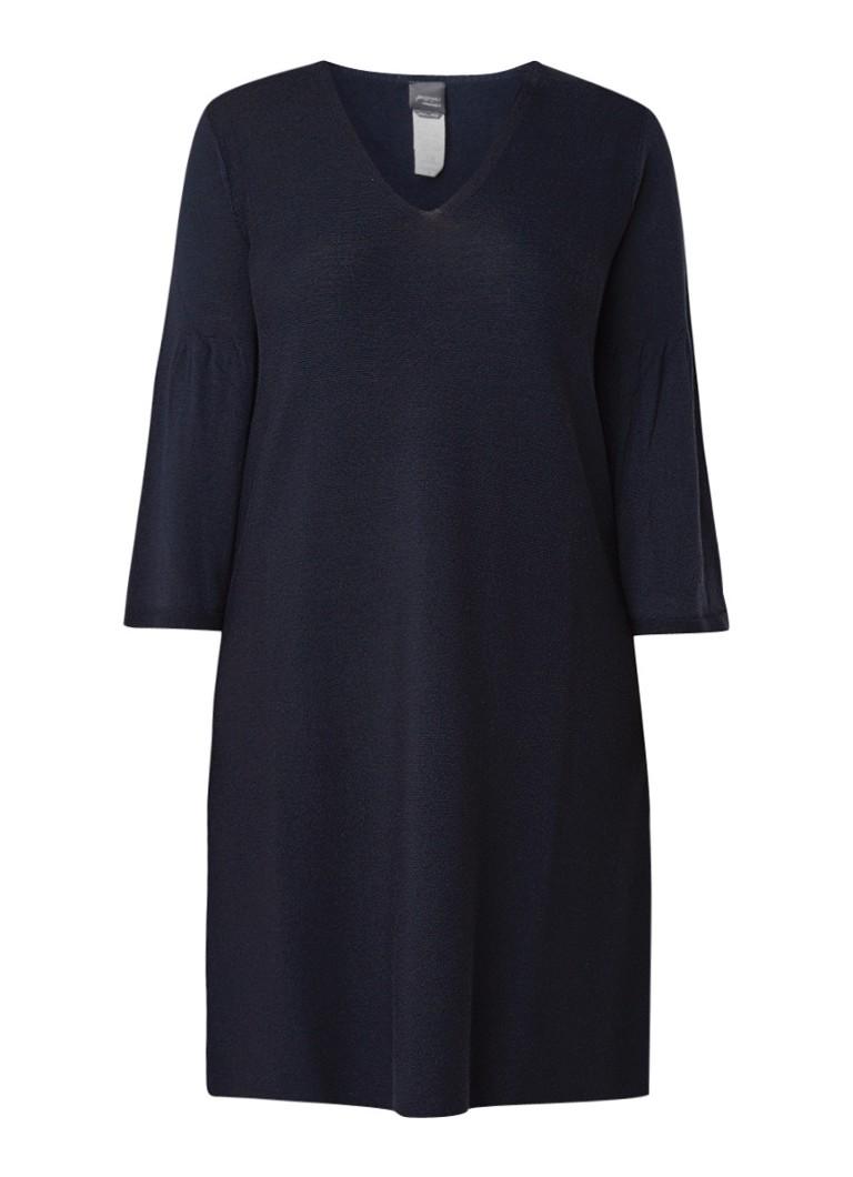 Marina Rinaldi Fijngebreide trui-jurk in wolblend donkerblauw