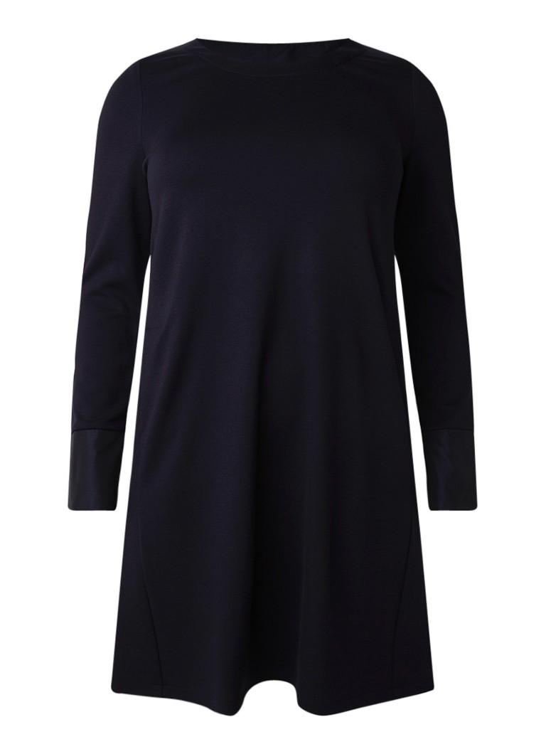 Marina Rinaldi Midi-jurk van jersey met crêpe donkerblauw