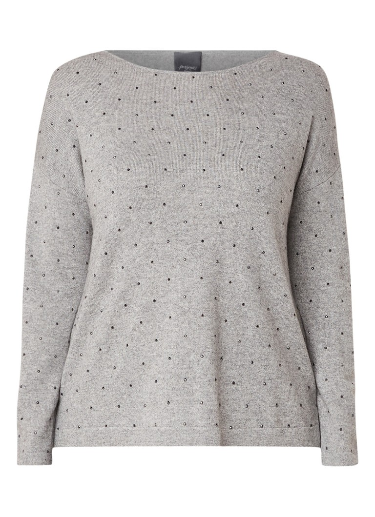 Image of Marina Rinaldi Acacia pullover in wolblend met strass-applicatie