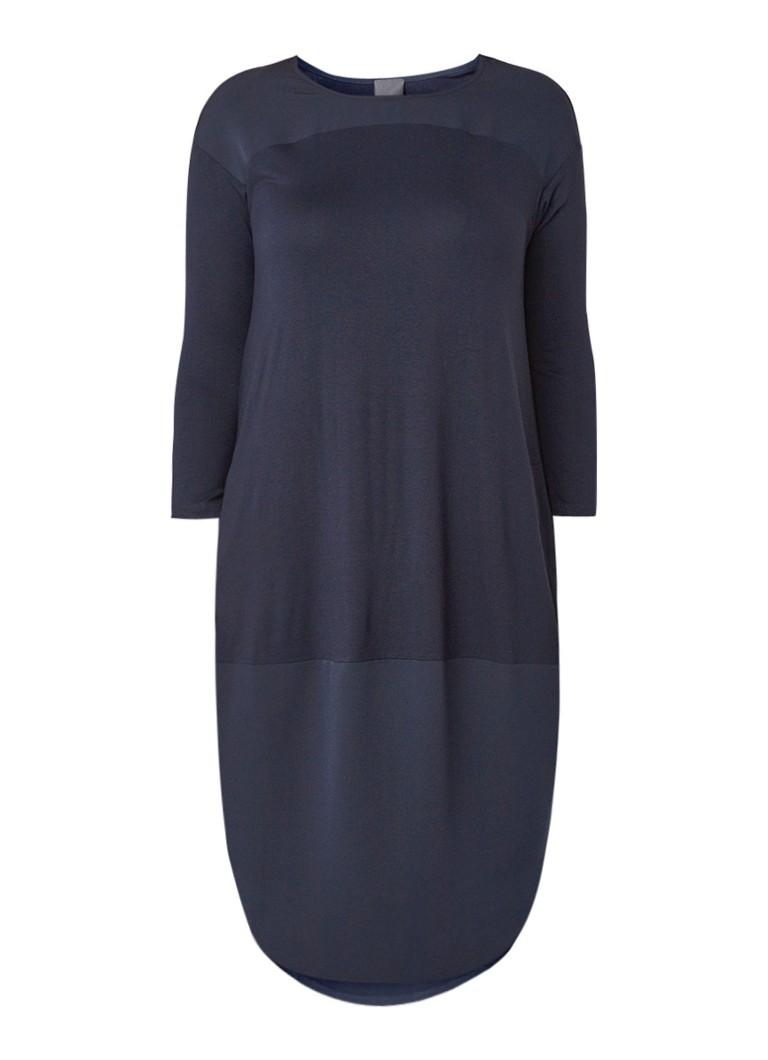 Marina Rinaldi Jersey midi-jurk met crêpe inzet donkerblauw