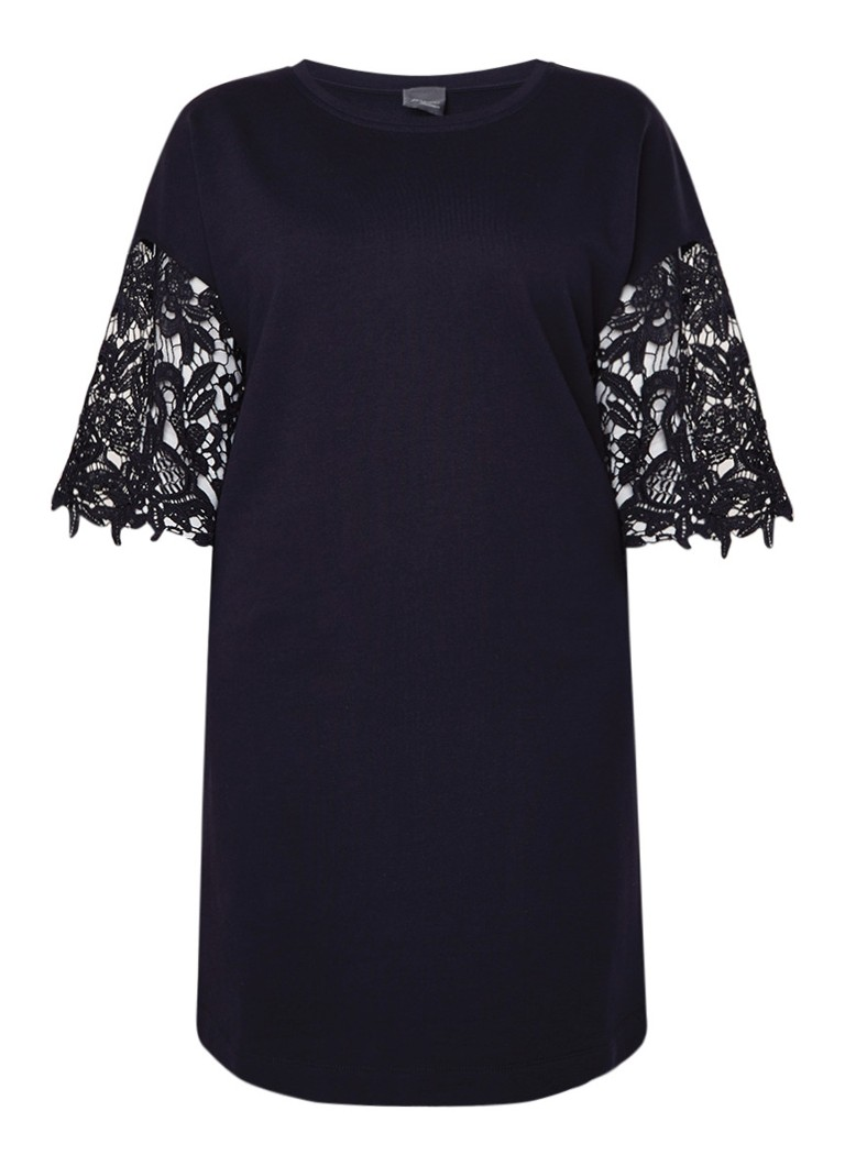 Marina Rinaldi Oncia jurk van katoen met mouw van kant donkerblauw
