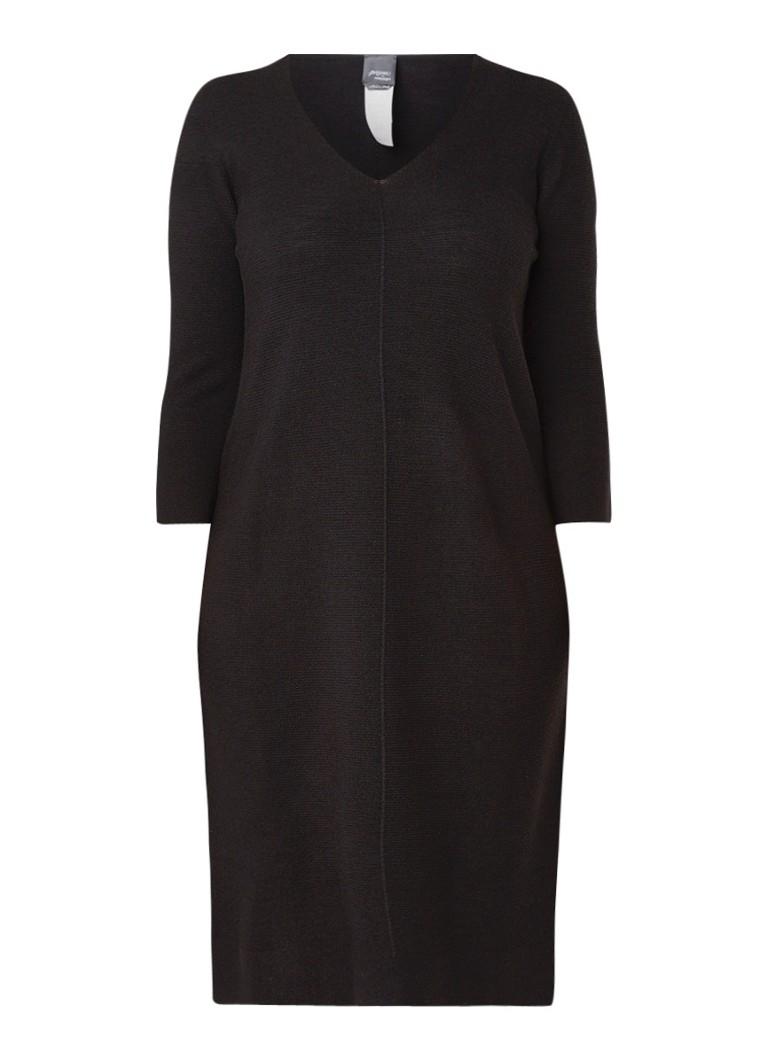 Marina Rinaldi Galena fijngebreide midi-jurk in wolblend zwart
