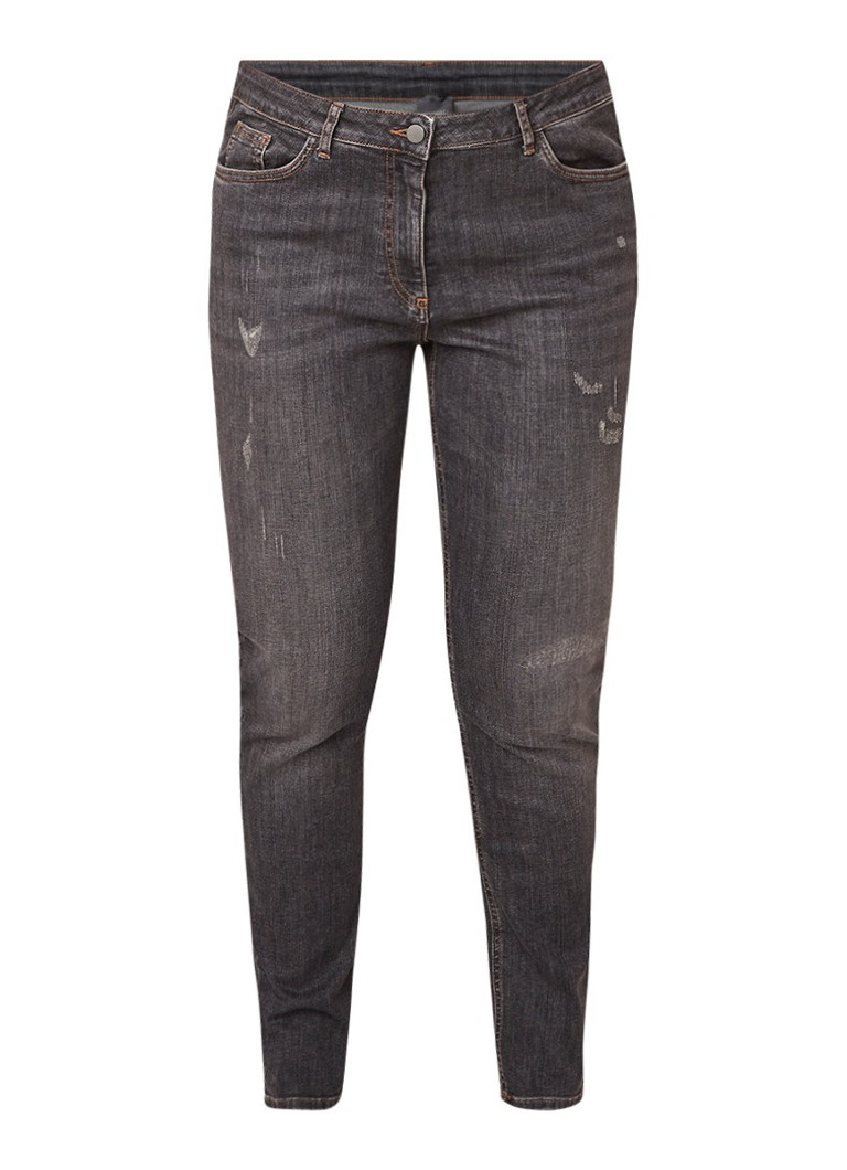 Marina Rinaldi Idolo high rise skinny fit jeans met destroyed details