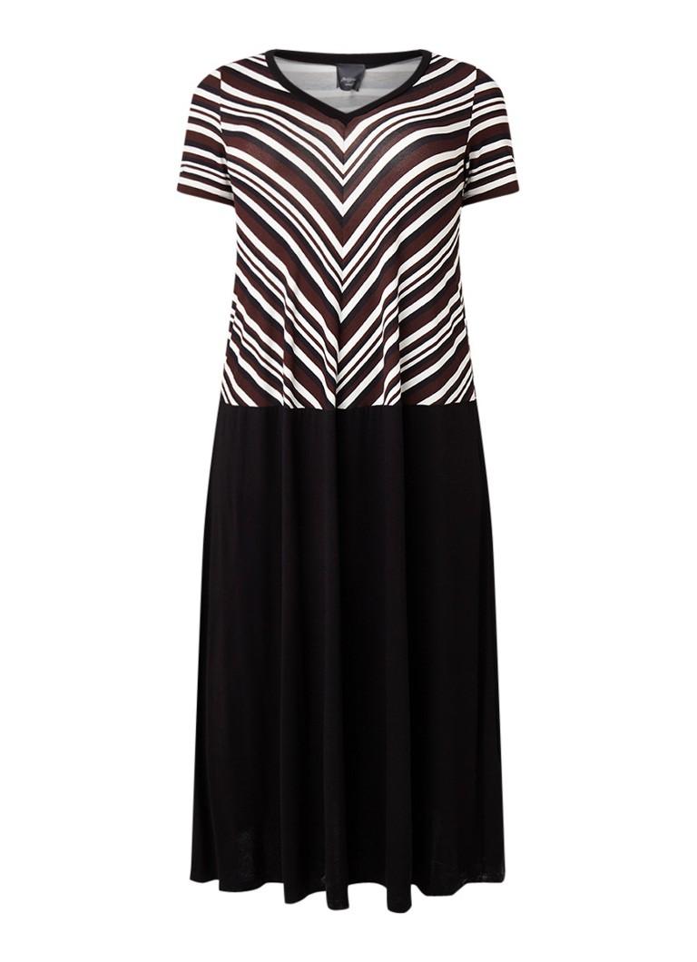 Marina Rinaldi Jersey midi-jurk met streepdessin zwart