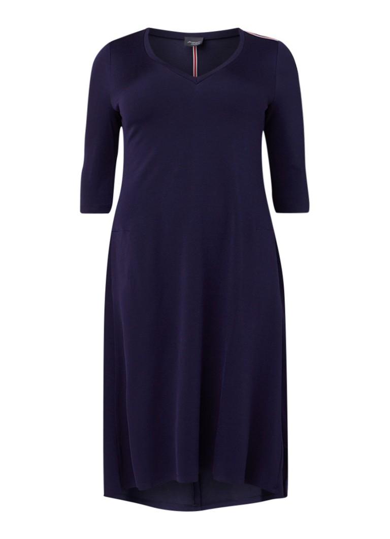 Marina Rinaldi A-lijn maxi-jurk met driekwart mouw donkerblauw