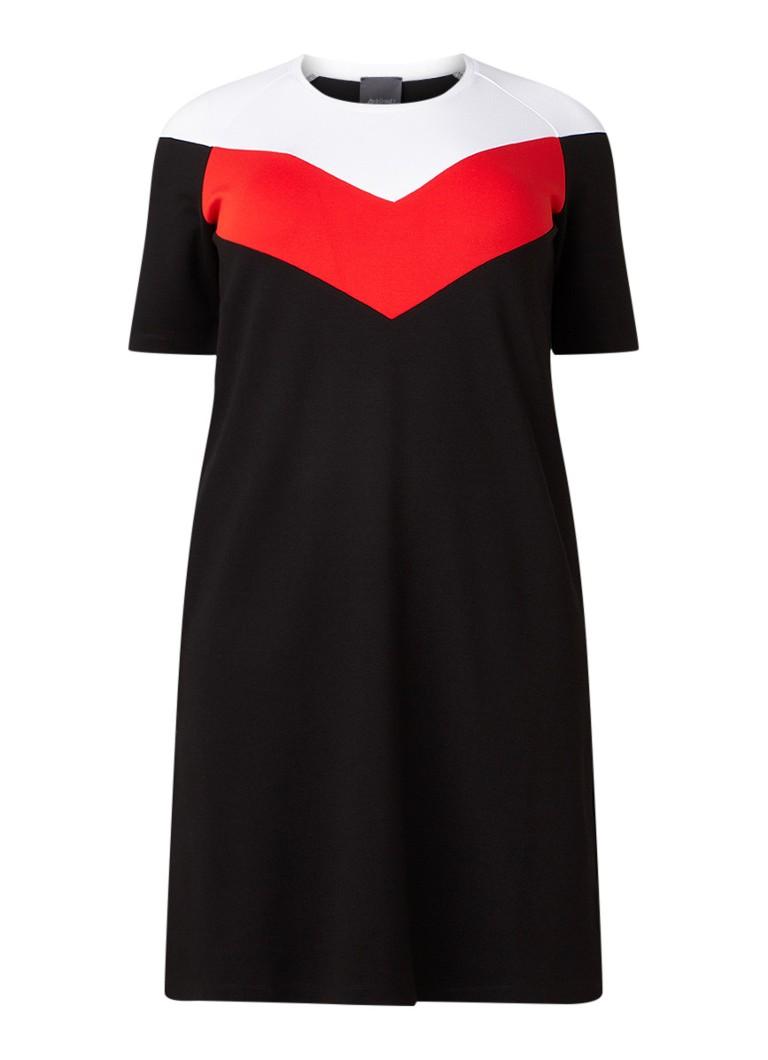 Marina Rinaldi Tuniekjurk van jersey met colour blocking zwart