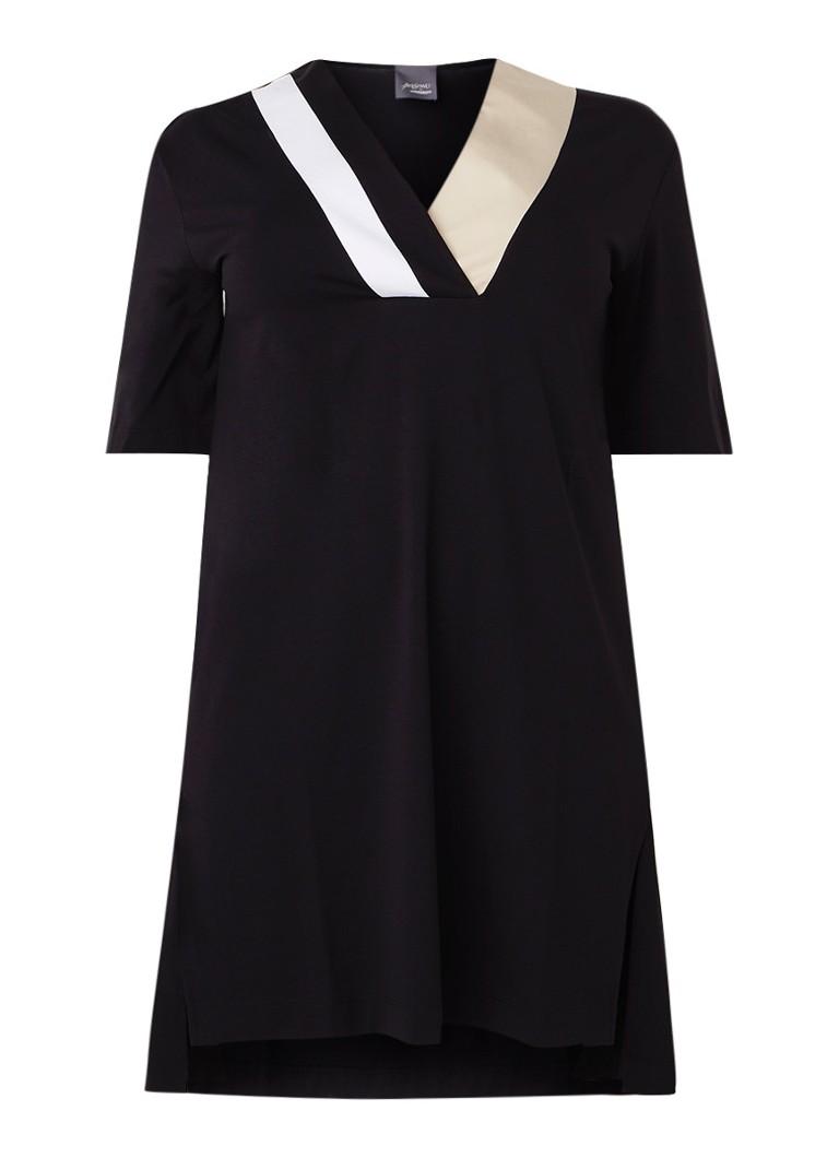 Marina Rinaldi Tuniekjurk van jersey met V-hals zwart