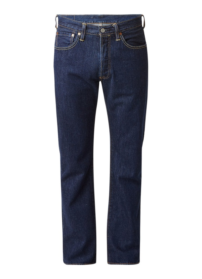 Levi's 501 high rise straight fit jeans in donkere wassing