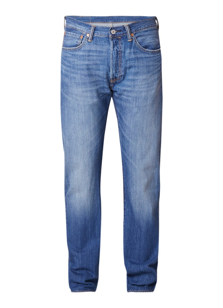 Levi's 501 high rise straight fit jeans met faded look