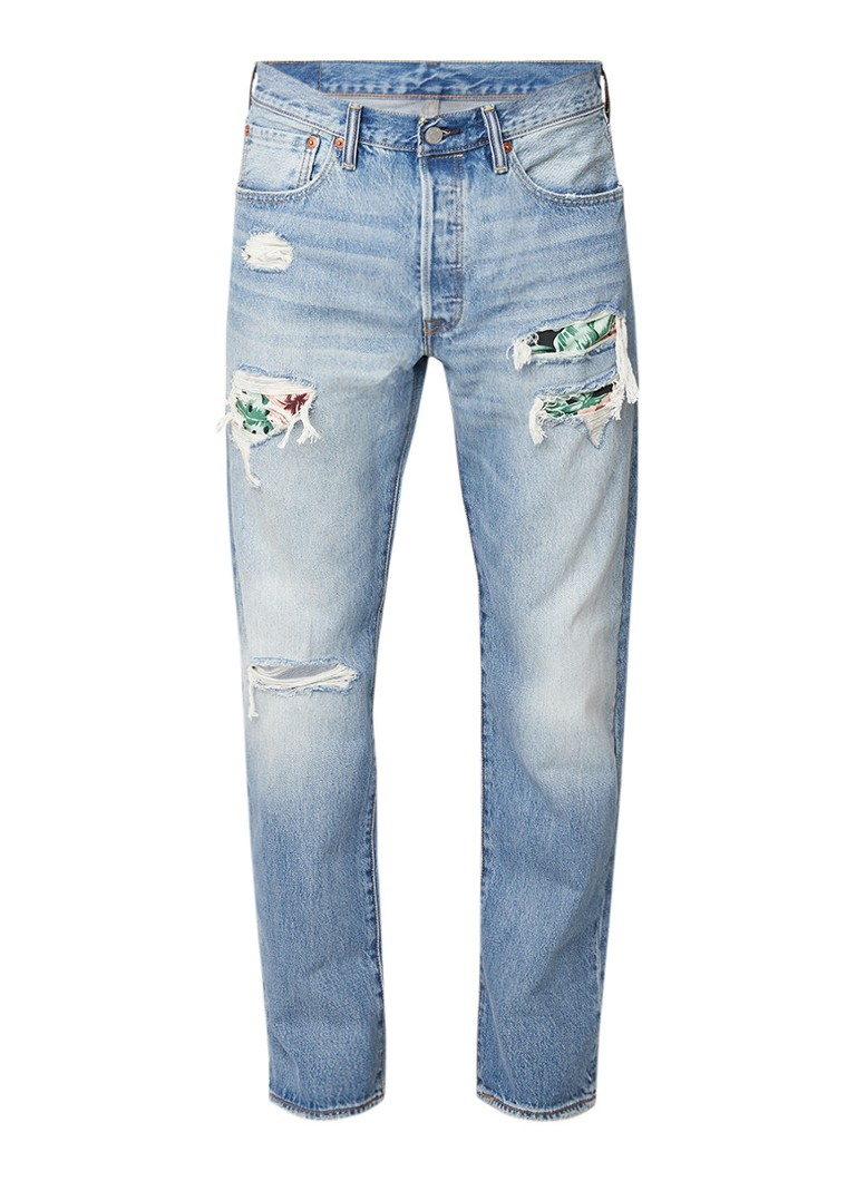 Levi's 501 high rise straight fit jeans met destroyed details