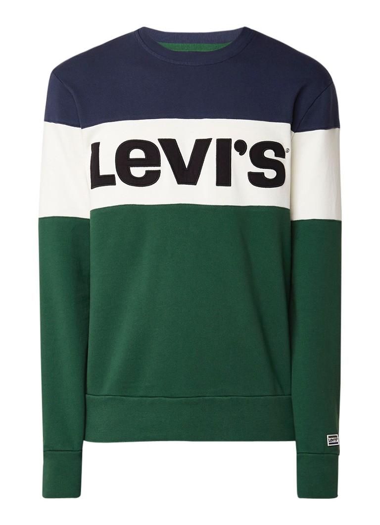 Levi's Sweater met colour blocking en logo