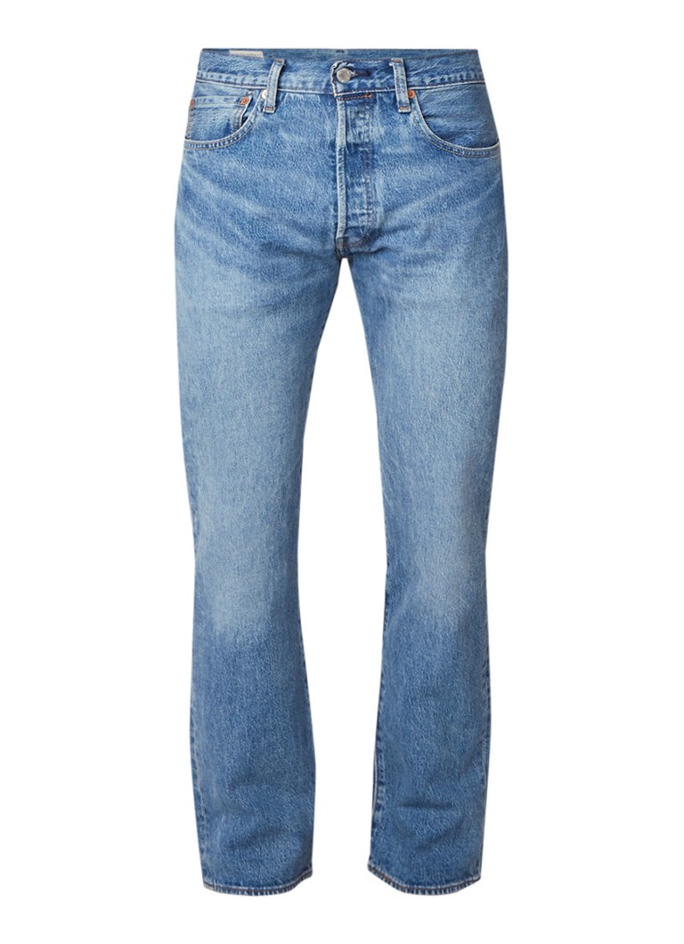 Levi's 501 straight fit jeans met lichte wassing