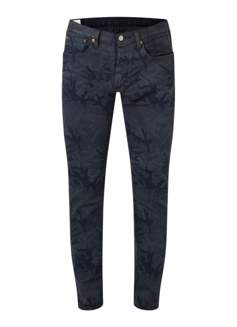 Levi's 501 high rise straight fit jeans met camouflageprint