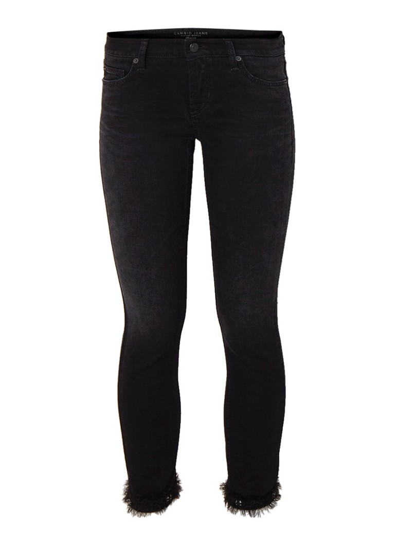 Claudia Sträter Cambio Low rise slim fit cropped jeans met veren detail