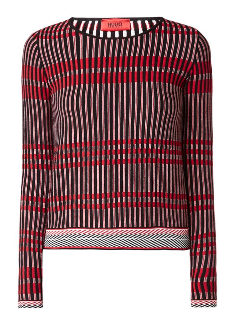 HUGO BOSS Sharvani ribgebreide pullover met streepdessin