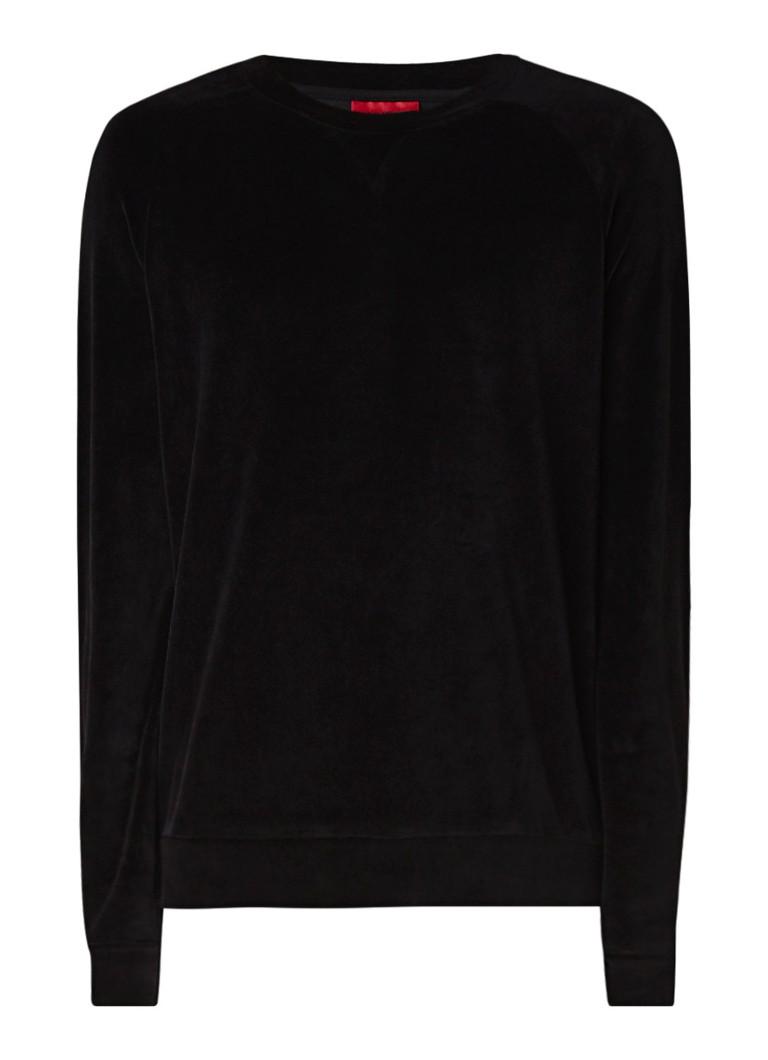 HUGO BOSS Delvet sweater van velours met ronde hals