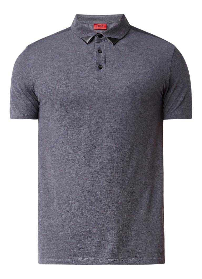 Polo s en T shirts HUGO BOSS Deffries polo van katoen met coating op kraag Antraciet