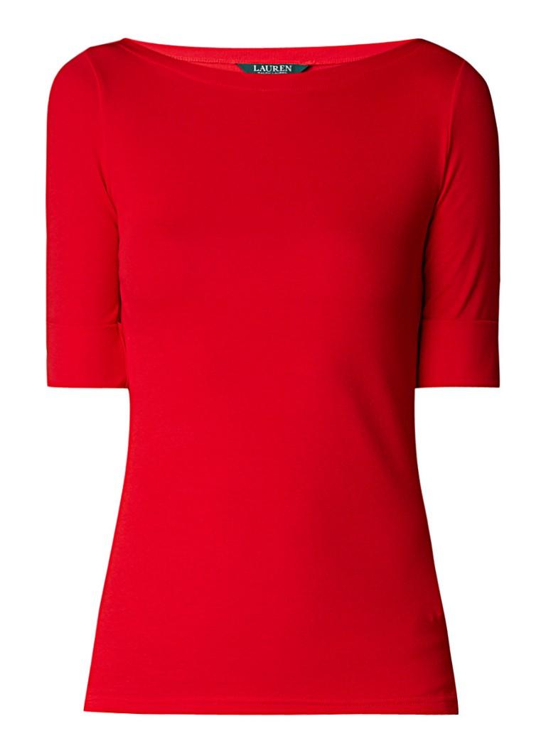 Ralph Lauren T-shirt met boothals en omgeslagen mouw
