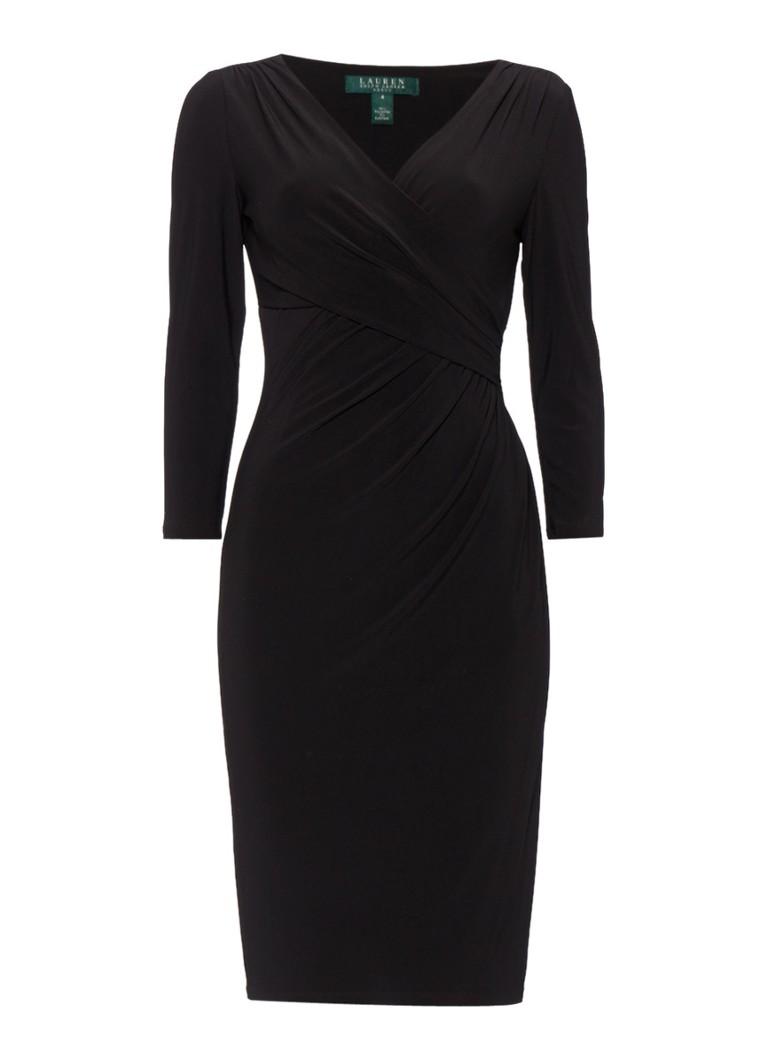 Ralph Lauren Electa jurk met overslag detail in zwart zwart