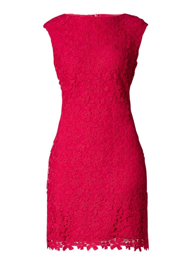 Ralph Lauren Montague midi-jurk van gebloemd kant rood