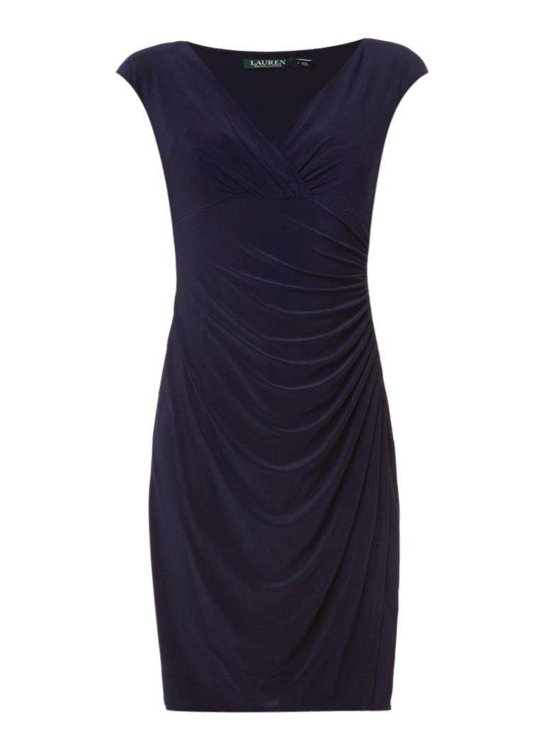 Ralph Lauren Adara jurk met overslag en plooidetail donkerblauw