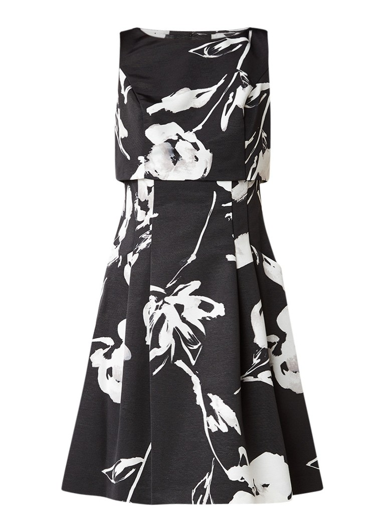 Ralph Lauren A-lijn jurk met bloemendessin zwart