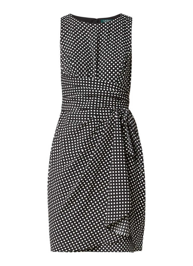 Ralph Lauren Mouwloze A-lijn jurk met grafisch dessin zwart