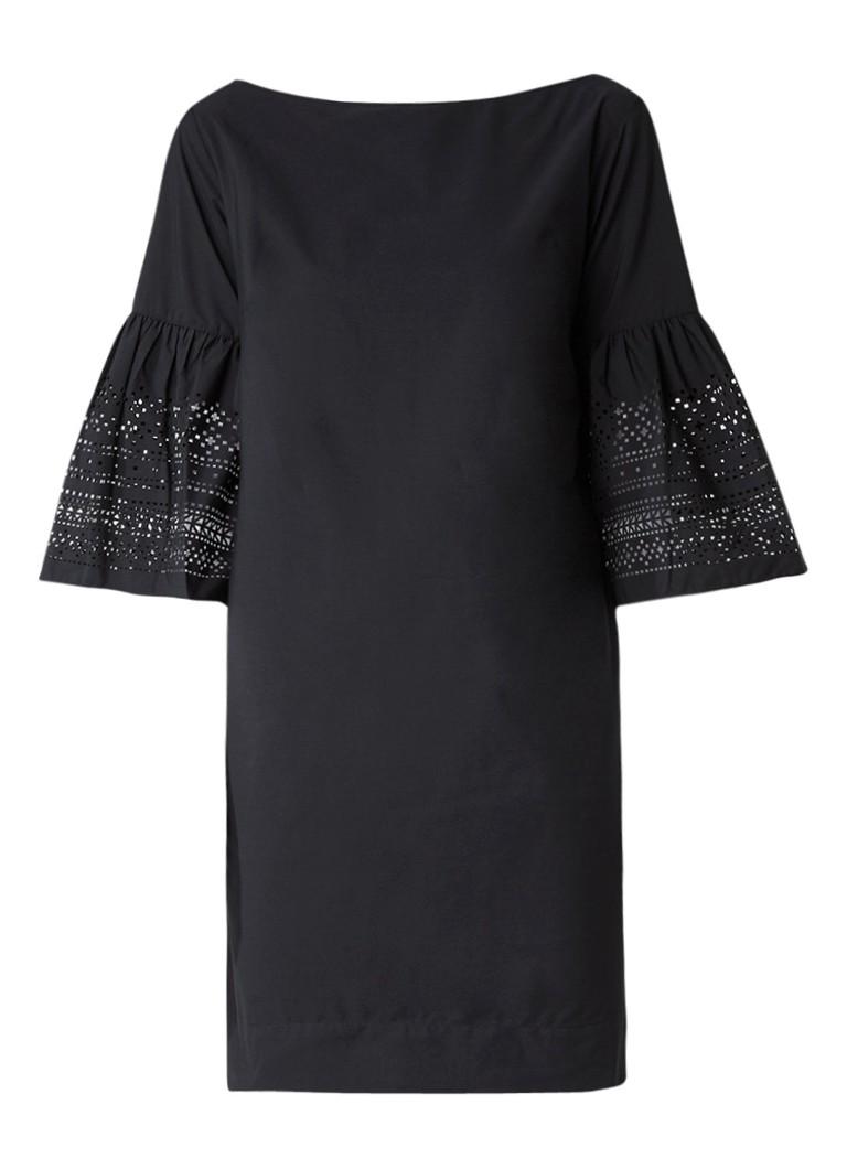 Ralph Lauren Midi-jurk met trompetmouw en laser-cut dessin zwart
