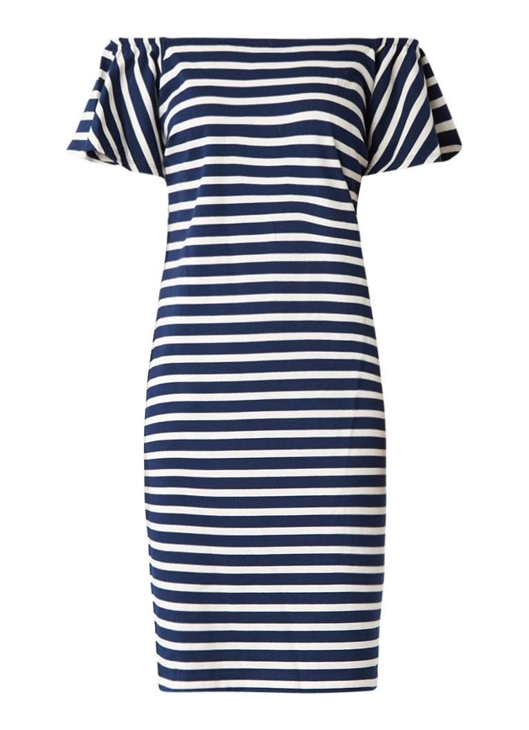 Ralph Lauren Off shoulder jurk van katoen met streepdessin donkerblauw
