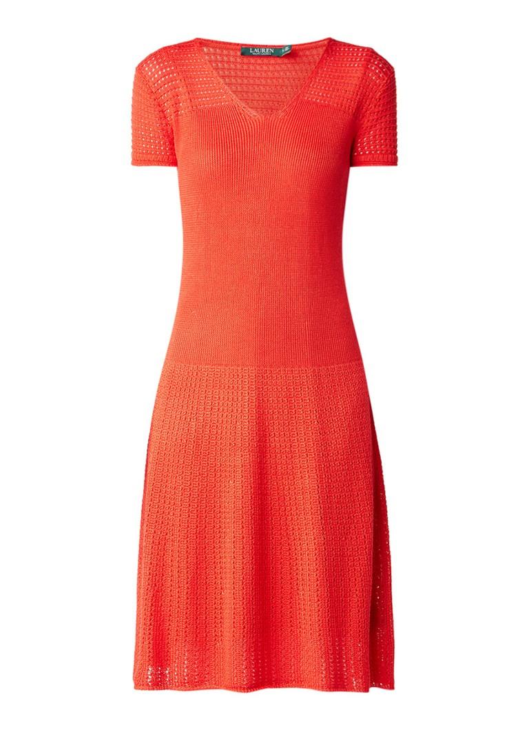 Ralph Lauren Fijngebreide A-lijn jurk met opengewerkt patroon rood
