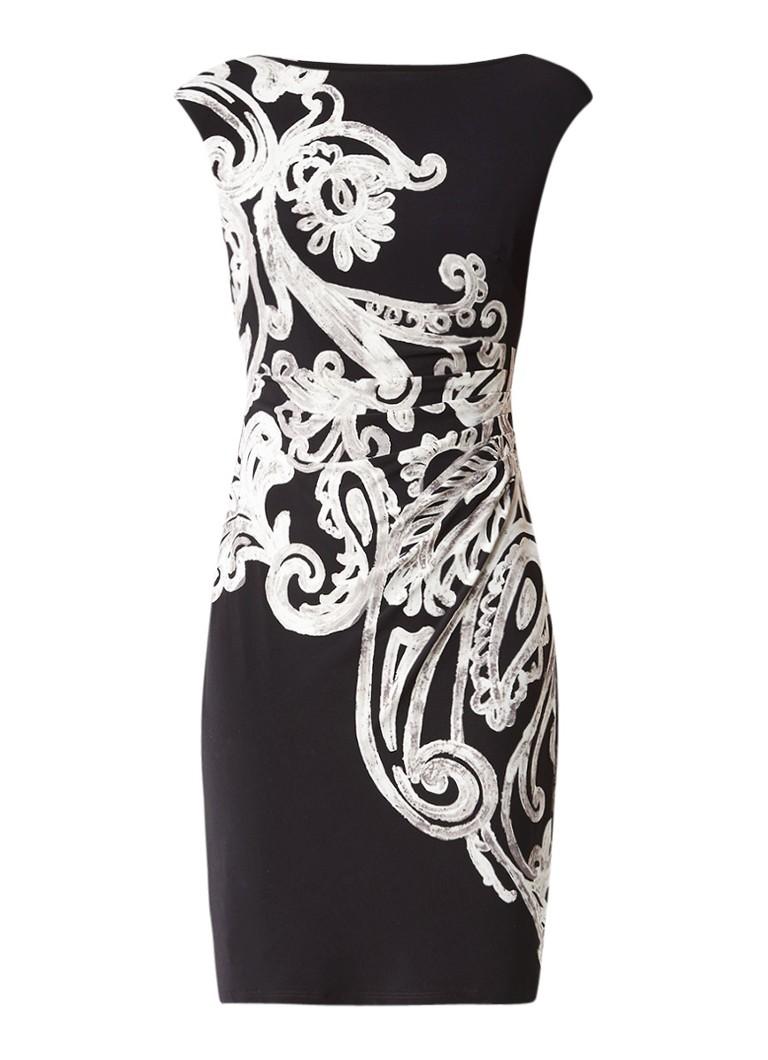 Ralph Lauren Jersey jurk met barokdessin zwart