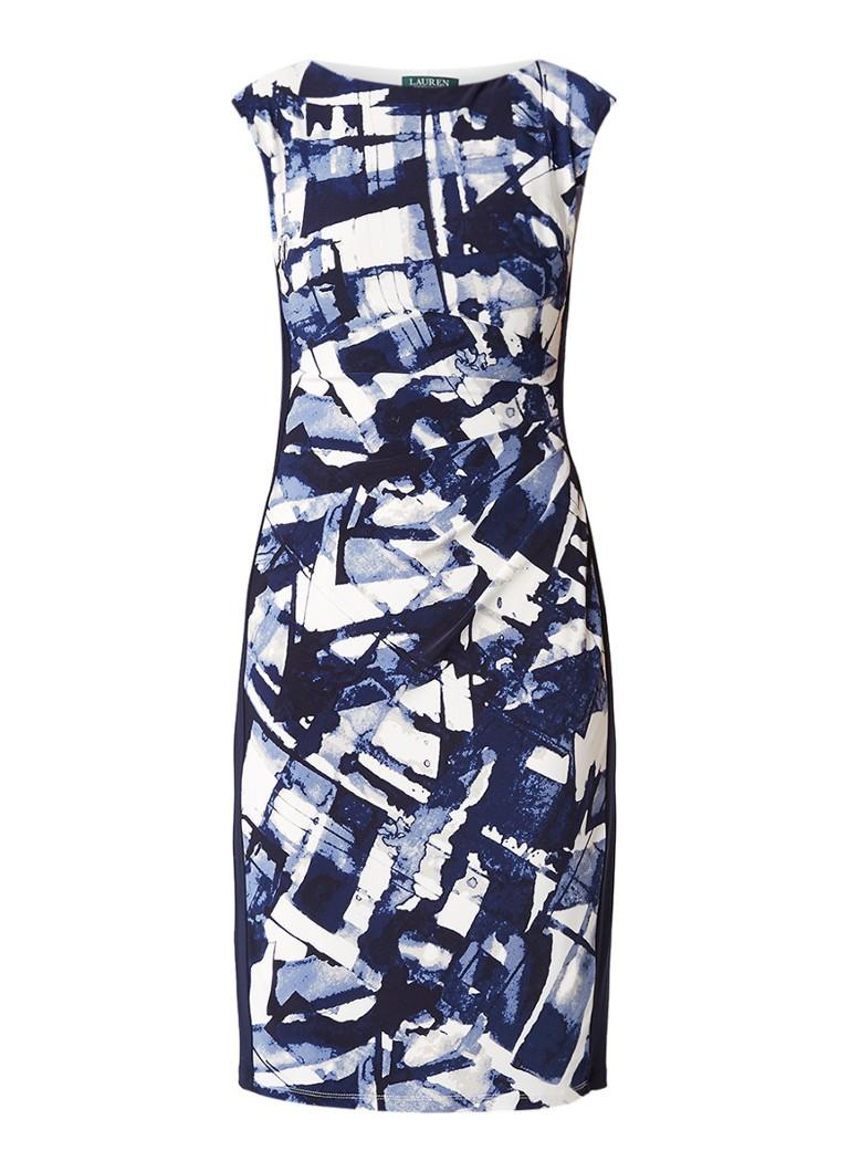 Ralph Lauren Kokerjurk met plooidetail en dessin donkerblauw