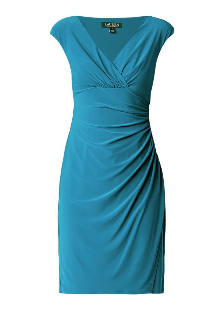 Ralph Lauren Mouwloze midi-jurk met overslag en plooien petrol