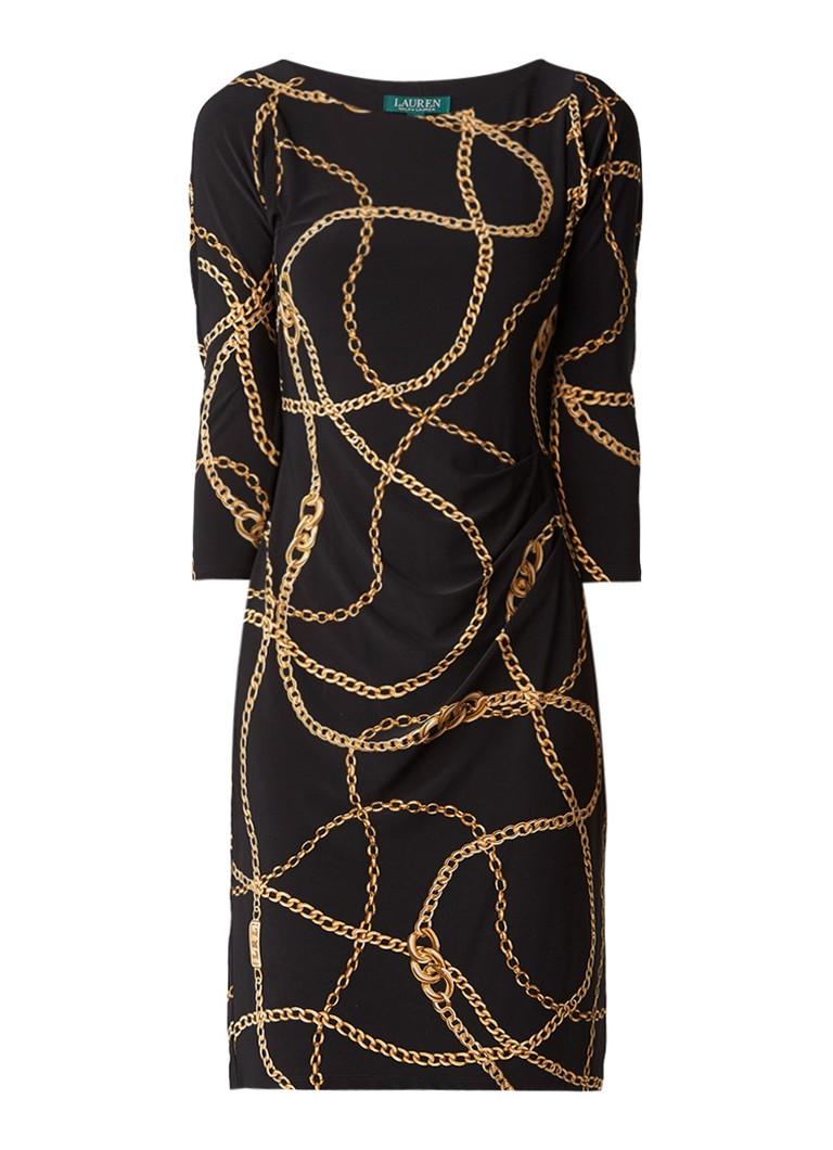 Ralph Lauren Jersey jurk met kettingdessin en plooidetails zwart