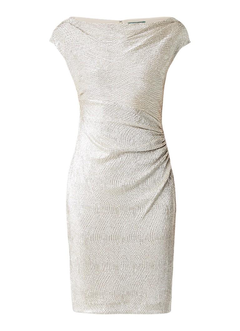 Ralph Lauren Jurk met structuur en draperie beige
