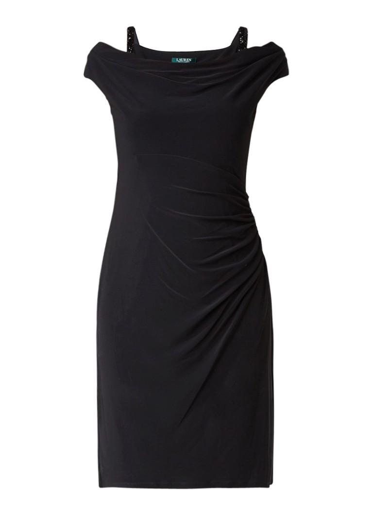 Ralph Lauren Cold shoulder jurk met draperie en strass zwart