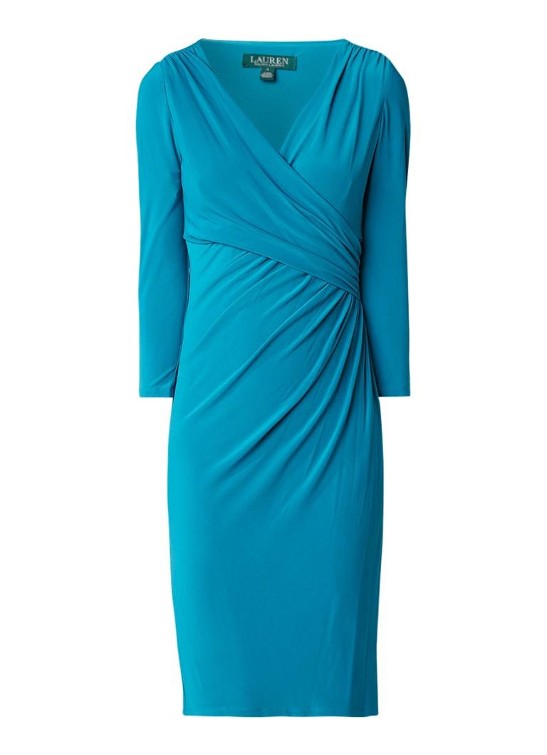 Ralph Lauren Jersey jurk met draperie detail zeegroen