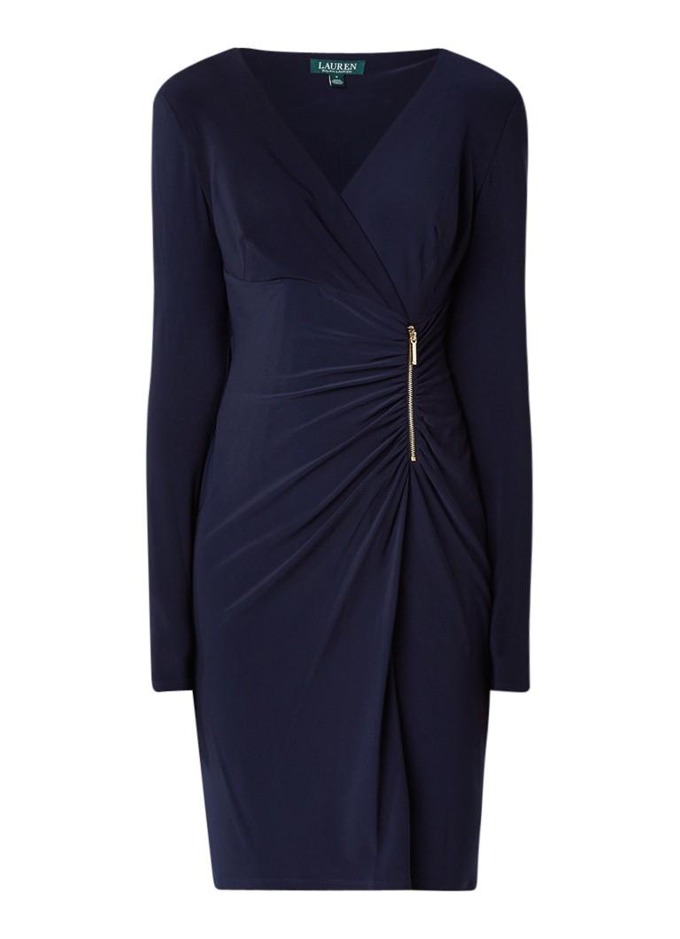 Ralph Lauren Gesmockte jurk met ritsdetail donkerblauw