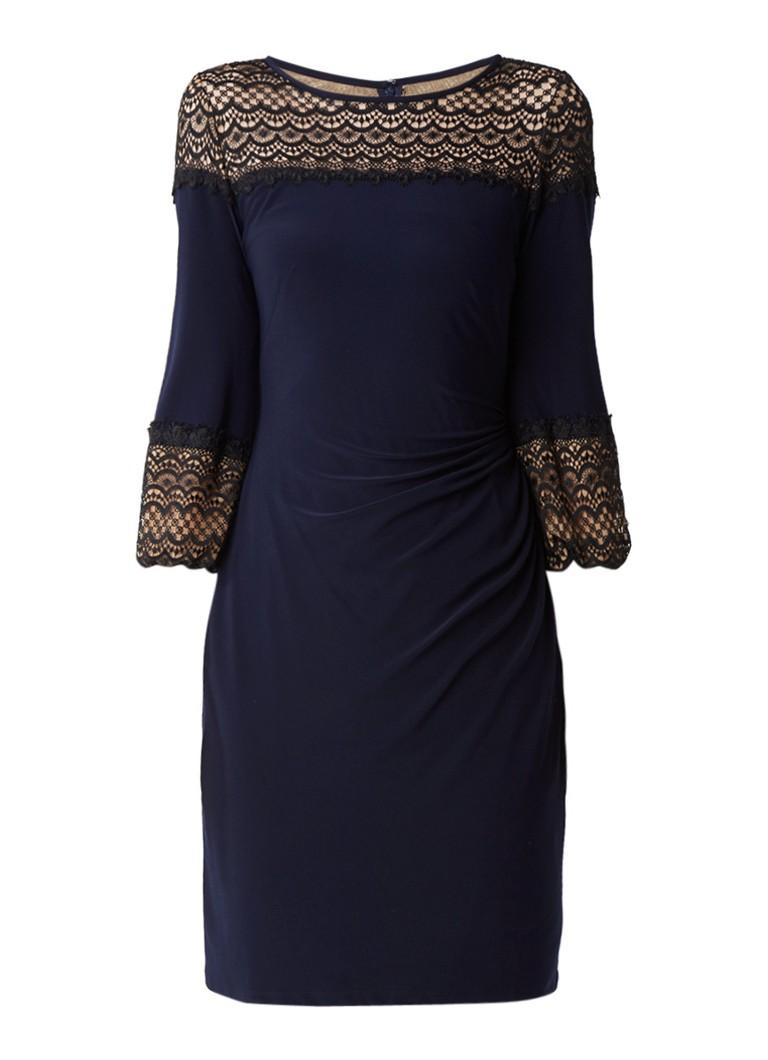 Ralph Lauren Midi-jurk met inzet van kant en plooidetail donkerblauw