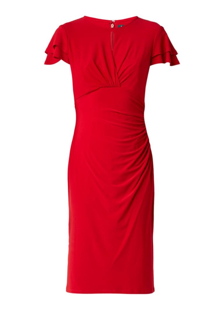 Ralph Lauren Midi-jurk met volant en keyhole rood