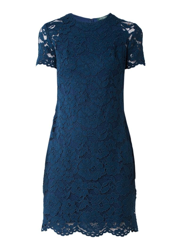 Ralph Lauren Midi-jurk van gebloemd kant petrol