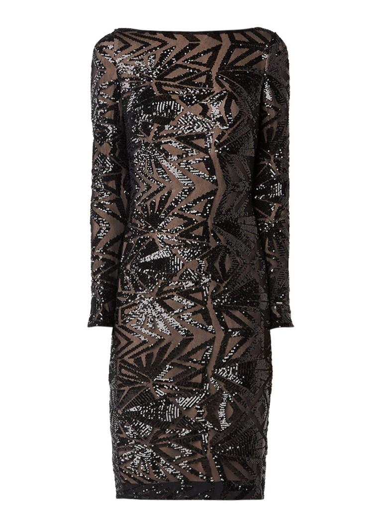 Ralph Lauren Midi-jurk met lange mouw en pailletten zwart