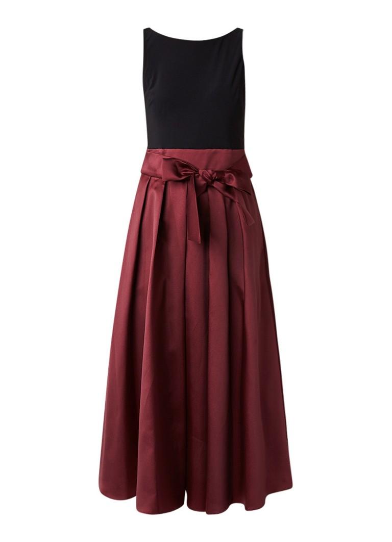Ralph Lauren A-lijn jurk met rok van satijn bordeaux