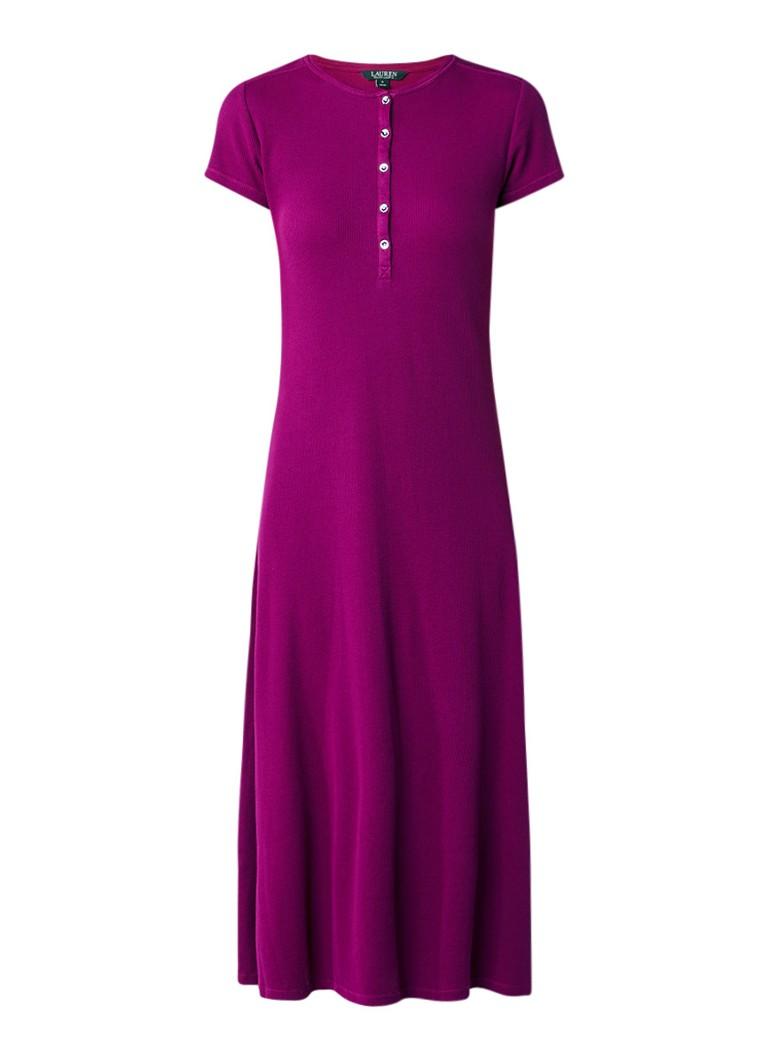 Ralph Lauren Maxi-jurk van katoen met textuur paars